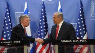 مستشار الامن القومي الامريكي جون بولتون يلتقي برئيس الوزراء بنيامين نتنياهو في مكتب رئيس الوزراء في القدس، 23 يونيو 2019 (Haim Zach/GPO)