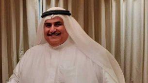 وزير الخارجية البحريني خالد بن أحمد آل خليفة يتحدث مع تايمز أوف إسرائيل على هامش ورشة 'السلام من أجل الازدهار' في المنامة، البحرين، 26 يونيو، 2019.  (Courtesy)