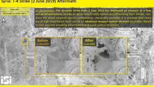 صور أقمار اصطناعية نشرتها شركة 'ImageSat إنترناشونال' تظهر الآثار التي خلفتها غارة جوية نُسبت لإسرائيل واستهدفت مطار 'تيفور' العسكري السوري بالقرب من مدينة تدمر، 2 يونيو، 2019. (ImageSat International)
