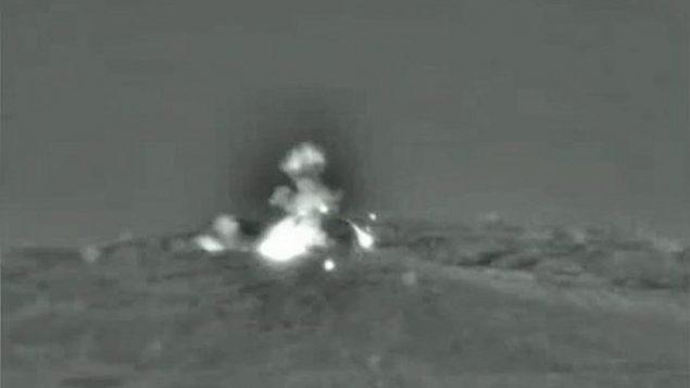 غارة جوية إسرائيلية على أهداف عسكرية سورية، 1 يونيو، 2019. (IDF spokesperson's unit)