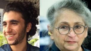 نحاما  ريفلين، زوجة الرئيس رؤوفن ريفلين، في 16 يونيو 2016 (Moshe Shai/FLASH90)، ويئير حلبي، الذي تبرع برئة لريفلين (Twitter)
