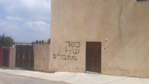 عبارة 'قرية ارهابيين' باللغة العبرية مكتوبة على جدار في قرية دير استيا في الضفة الغربية، 18 يونيو 2019 (B'Tselem)