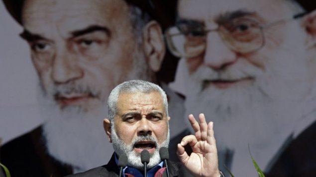 قائد حماس اسماعيل هنية خلال خطاب في طهران، 11 فبراير 2012 (AP/Vahid Salemi)