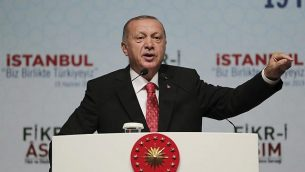 الرئيس التركي رجب طيب إردوغان، في إسطنبول، 19 يونيو، 2019.  (Presidential Press Service via AP, Pool)