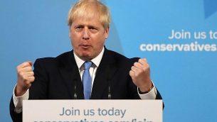 بوريس جونسون يلقي كلمة بعد الإعلان عن فوزه بقيادة حزب المحافظين البريطاني في لندن، 23 يوليو، 2019. (AP Photo/Frank Augstein)