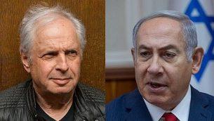 رئيس الوزراء بنيامين نتنياهو (يمين) والمساهم المسيطر في شركة بيزك، شاؤول إلوفيتش. (Flash90; Ohad Zwigenberg/POOL)