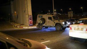 ازمة سير في حاجز حزمة، بالقرب من موقع هجوم دهس مفترض، 7 يوليو 2019 (Hadas Parush/Flash90)
