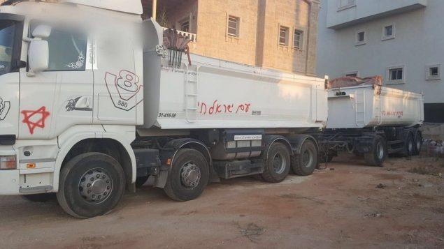 شاحنة في كفر قاسم تعرضت للتخريب في هجوم كراهية مفترض، 28 يوليو 2019 (Israel Police)