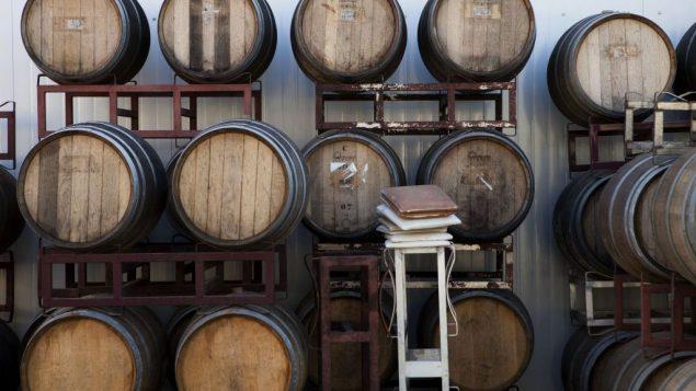 براميل في مصنع نبيذ في مستوطنة بساغوت في الضفة الغربية، 11 فبراير 2014 (AP/ Dan Balilty/File)