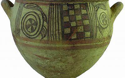 وعاء فلستيني لخلط النبيذ من القرن 11 قبل الميلاد. (Melissa Aja/Courtesy Leon Levy Expedition to Ashkelon)