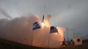 اختبار إسرائيلي امريكي لنظام 'سهم 3' للدفاع الصاروخي، 28 يوليو 2019 (Defense Ministry)
