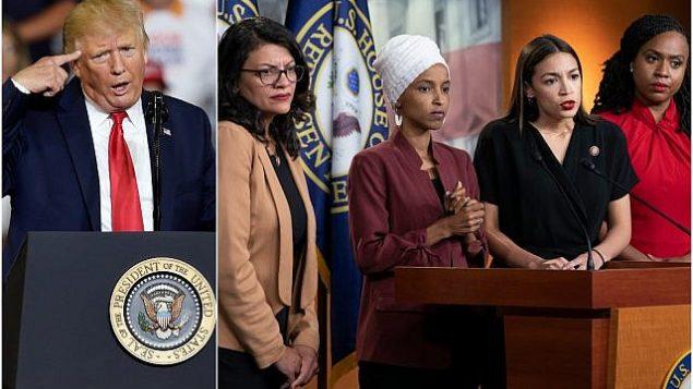 الرئيس الأمريكي دونالد ترامب (يمين) يلقي خطابا خلال تجمع انتخابي في غرينفيل، كارولينا الشمالية في 17 يوليو، 2019. (AP/Gerry Broome). (في الصورة من اليمين) من اليسار إلى اليمين، عضوات الكونغرس رشيدة طليب وإلهان عمر وألكسندريا أوكاسيو كورتيز وأيانا بريسلي في مؤتمر صحفي عُقد في واشنطن، 15 يوليو، 2019. (AP Photo/J. Scott Applewhite)