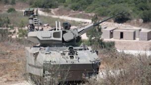 """نموذج دبابة لشركة """"إلبيت سيستمز"""" في إطار برنامج وزارة الدفاع 'الكرمل'، والتي تم اختبارها في 4 أغسطس، 2019. (Defense Ministry)"""
