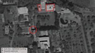 صورة أقمار اصطناعية تظهر فيه قاعدة صغيرة في قرية عقربة السورية منها حاولت إيران، بحسب الجيش الإسرائيلي، إطلاق طائرات مسيرة محملة بمتفجرات إلى شمال إسرائيل من سوريا في أغسطس 2019.  (Israel Defense Forces)
