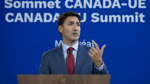 رئيس الوزراء الكندي جاستين ترودو خلال مؤتمر صحفي في مونتريال، 18 يوليو 2019 (SEBASTIEN ST-JEAN / AFP)