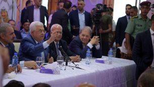 رئيس السلطة الفلسطينية محمود عباس يتحدث في مخيم الجلزون، 10 اغسطس 2019 (Wafa)
