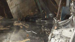 اضرار في مكاتب حزب الله في بيروت، متجت بحسب الافتراض عن طائرة مسيرة اسرائيلية مفخخة، 25 اغسطس 2019 (Lebanese state media)