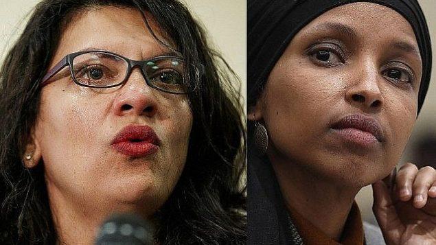 من اليسار، عضوة الكونغرس الأمريكية رشيدة طليب، 10 يوليو، 2019؛ وعضوة الكونغرس إلهان عمر، 12 مارس، 2019، كلتاهما في واشنطن.  (AP Photo)