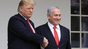 الرئيس الامريكي دونالد ترامب ورئيس الوزراء بنيامين نتنياهو في البيت الابيض، بواشنطن، 25 مارس 2019 (Manuel Balce Ceneta/AP)