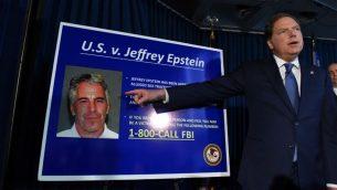 المدعي الامريكي في منطقة جنوب نيويورك جفري بيرمان يعلن عن التهم ضد جيفري إبستين، 8 يوليو 2019، في مدينة نيويورك (Stephanie Keith/Getty Images/AFP)