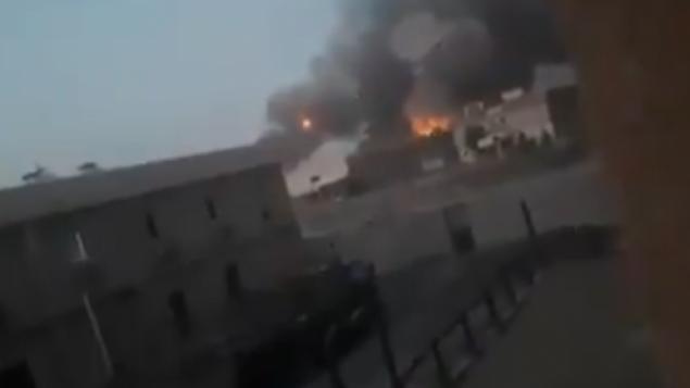 انفجارات في مستودع أسلحة تابعة لميليشيا شيعية في العراق، 20 أغسطس، 2019.  (video screenshot)