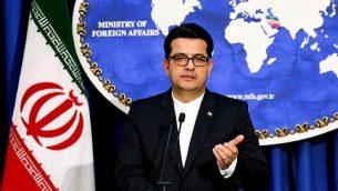 عباس موسوي، المتحدث باسم الخارجية الإيرانية، يعقد مؤتمرا صحفيا في العاصمة طهران، 28 مايو، 2019.  (Atta Kenare/AFP)