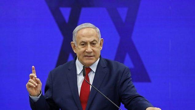 رئيس الوزراء بنيامين نتنياهو في رمات غان، 10 سبتمبر، 2019.  (Menahem KAHANA / AFP)