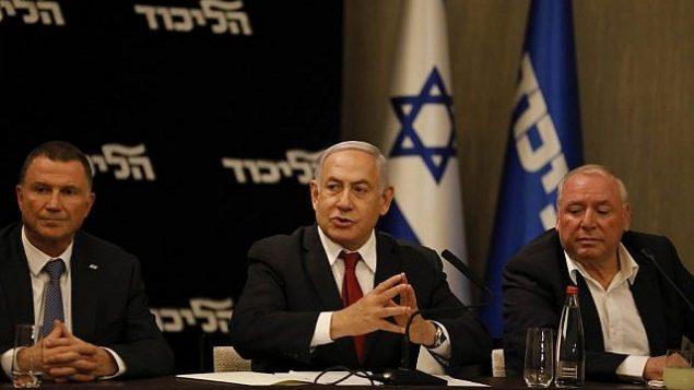 رئيس الوزراء بنيامين نتنياهو يتحدث خلال جلسة لحزب الليكود في القدس، 18 سبتمبر، 2019.  (Menahem Kahana/AFP)