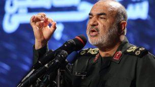 قائد الحرس الثوري الإيراني اللواء حسين سلامي في طهران، 21 سبتمبر 2019 (Atta Kenare/AFP)