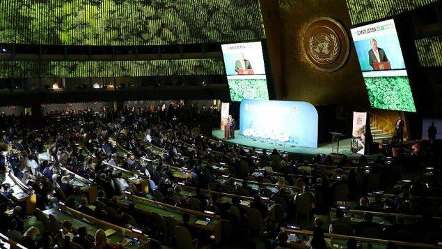 امين عام الامم المتحدة انتونيو غوتيريش يتحدث في قاعة الجمعية العامة في مدينة نيويورك، 23 سبتمبر 2019 (Ludovic MARIN / AFP)