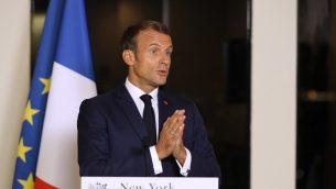 الرئيس الفرنسي إيمانويل ماكرون يتحدث خلال مؤتمر صحفي بعد المؤتمر السنوي ال74 للجمعية العامة للأمم المتحدة في مقر البعثة الفرنسية للأمم المتحدة في نيويورك، 24 سبتمبر، 2019.  (Photo by Ludovic MARIN / AFP)
