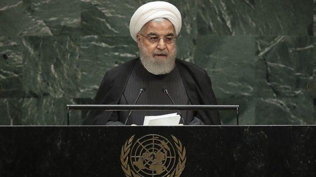 الرئيس الإيراني حسن روحاني يخاطب الجمعية العامة للأمم المتحدة في مقر الامم المتحدة في نيويورك، 25 سبتمبر 2019 (Drew Angerer/Getty Images/AFP)