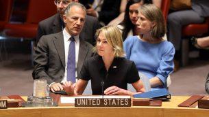 السفيرة الأميركية الجديدة للأمم المتحدة كيلي كرافت خلال جلسة بمجلس الامن الدولي في مقر الامم المتحدة في نيويورك، 12 سبتمبر 2019 (SPENCER PLATT / GETTY IMAGES NORTH AMERICA / AFP)