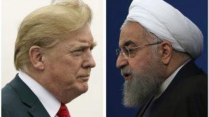 الرئيس الأمريكي دونالد ترامب، يسار، في صورة تم التقاطها في 22 يوليو، 2018، والرئيس الإيراني حسن روحاني في صورة تم التقاطها في 6 فبراير، 2018. (AP Photo)