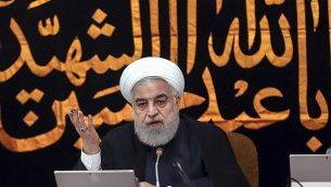 الرئيس الإيراني حسن روحاني يتحدث أمام جلسة للحكومة في طهران، إيران، 4 سبتمبر، 2019. (Iranian Presidency Office via AP)
