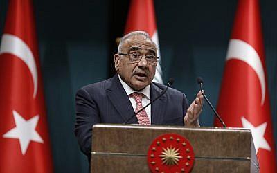 رئيس الوزراء العراقي عادل عبد المهدي في مؤتمر صحفي خلال زيارة إلى أنقرة ، تركيا، 15 مايو 2019 (Burhan Ozbilici/AP)