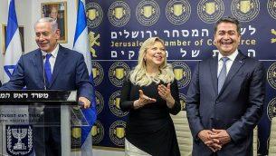 رئيس الوزراء بنيامين نتنياهو يلقي كلمة خلال افتتاح مكتب تجارة للهندوراس في القدس، 1 سبتمبر، 2019.  (Marc Israel Sellem/Pool/Flash90)