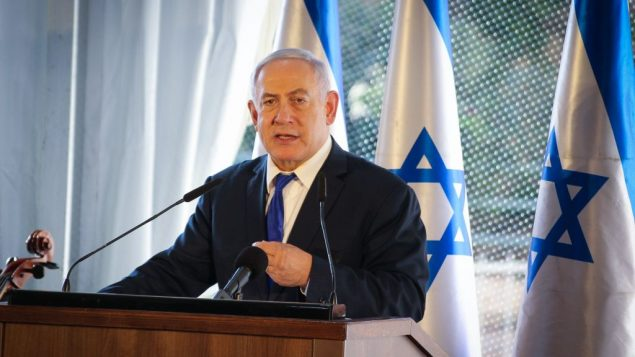 رئيس الوزراء بنيامين نتنياهو خلال مراسيم في الذكرى ال90 لمظاهرات الخليل عام 1929، 4 سبتمبر 2019 (Gershon Elinson/Flash90)