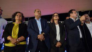 رئيس 'القائمة المشتركة'، عضو الكنيست أيمن عودة، بعد الإعلان عن النتائج الأولية لانتخابات الكنيست، 17 سبتمبر، 2019.  (Basel Awidat/FLASH90)