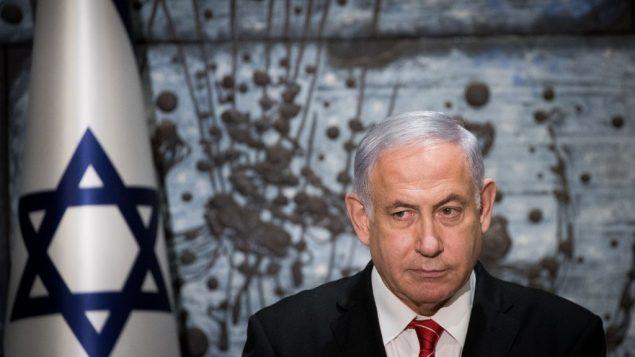 رئيس الوزراء بنيامين نتنياهو خلال مؤتمر صحفي في مقر اقامة الرئيس في القدس، بعد تكليفه من قبل الرئيس رؤوفن ريفلين بتشكيل حكومة اسرائيل المقبلة، 25 سبتمبر 2019 (Yonatan Sindel/Flash90)