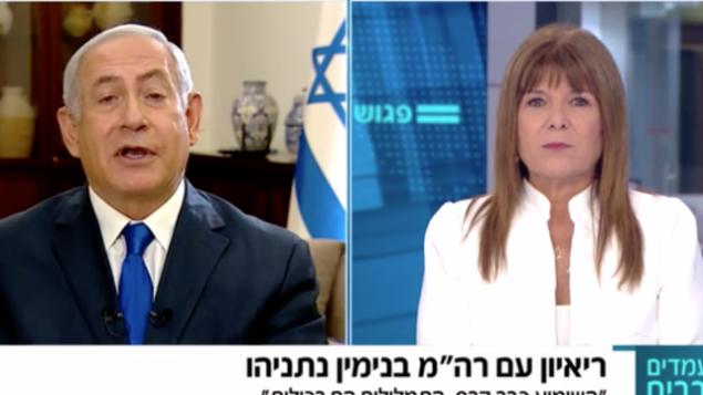 رئيس الوزراء بنيامين نتنياهو خلال مقابلة أجرتها معه رينا متسلياح على القناة 12، 14 سبتمبر، 2019. (Channel 12 screenshot)