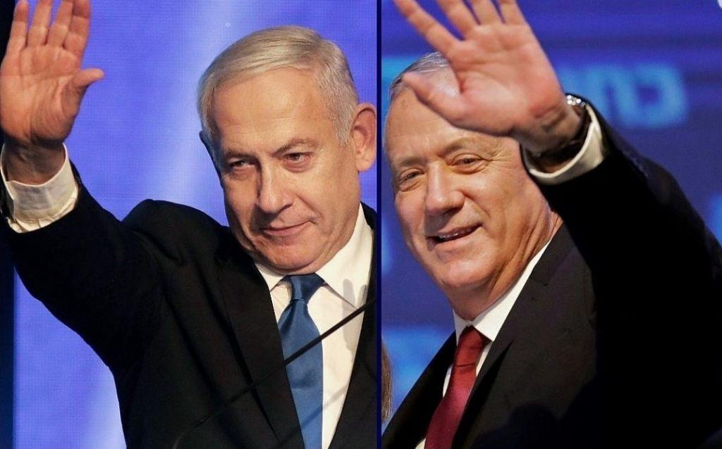 (من اليسار إلى اليمين) بنيامين نتنياهو وبينين غانتس (AFP)