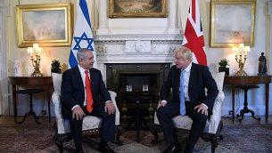 رئيس الوزراء البريطاني بوريس جونسون يستضيف رئيس الوزراء بنيامين نتنياهو في داونينغ ستريت، 5 سبتمبر 2019 (Haim Tzach/GPO)