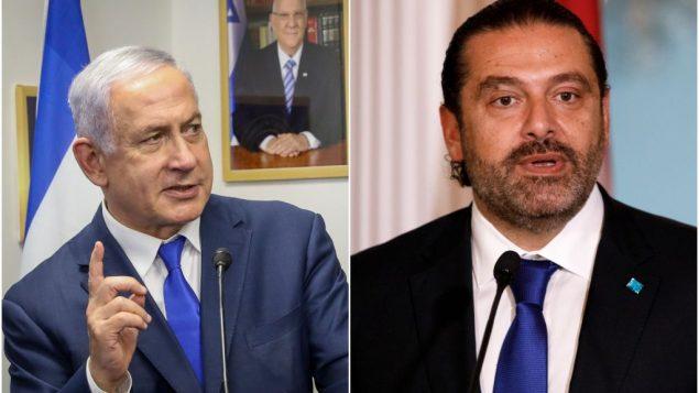 (يسار) رئيس الوزراء بنيامين نتنياهو في القدس، 1 سبتمبر 2019 (Marc Israel Sellem/POOL) رئيس الوزراء اللبناني سعد الحريري خلال مؤتمر صحفي مع وزير الخارجية الامريكي مايك بومبيو، في وزارة الخارجية الامريكي في واشنطن، 15 اغسطس 2019 (AP/Carolyn Kaster)