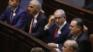 رئيس الوزراء بنيامين نتنياهو خلال مراسم اداء اليمين الدستورية للكنيست الجديد في القدس، 3 اكتوبر 2019 (Menahem KAHANA / AFP)