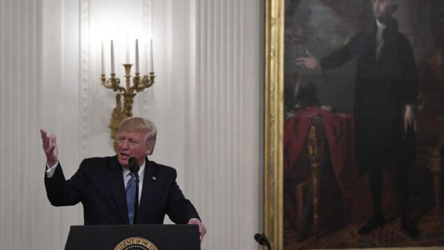 الرئيس الأمريكي دونالد ترامب يتحدث خلال حفل ميدالية الشرف في القاعة الشرقية للبيت الأبيض في واشنطن ، 30 أكتوبر 2019. (AP Photo / Susan Walsh)