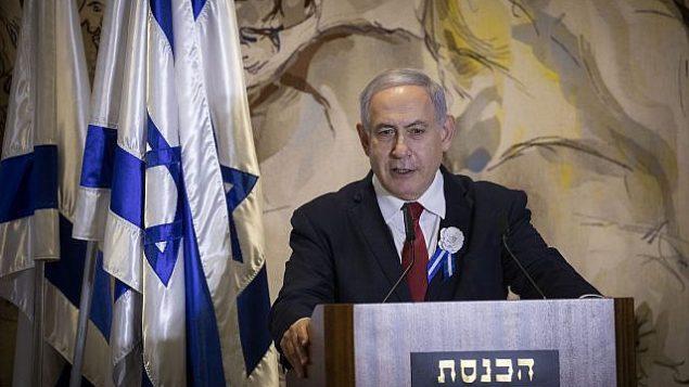 رئيس الوزراء بنيامين نتنياهو يلقي كلمة في الجلسة الافتتاحية للكنيست ال22 في القدسن 3 أكتوبر، 2019.  (Hadas Parush/Flash90)