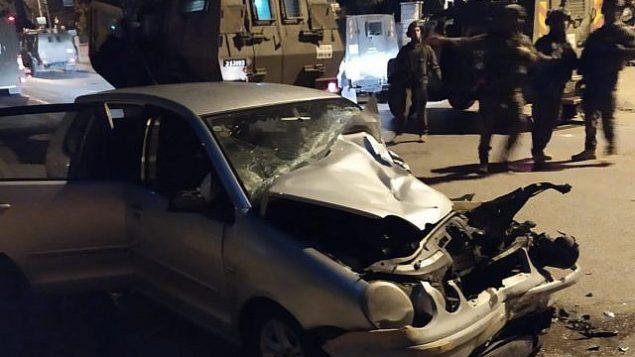 السيارة المستخدمة في محاولة هجوم دهس مزعومة ضد قوات حرس الحدود قرب رام الله، 17 أكتوبر، 2019. (Border Police)