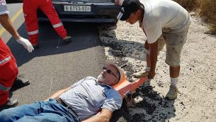 الناشط في منظمة 'حاخامات من أجل حقوق الإنسان'، موشيه يهوداي، الذي تعرض بحسب المنظمة غير الحكومية لاعتداء من قبل مستوطنين ملثمين في شمال الضفة الغربية، 16 أكتوبر، 2019. (Rabbis for Human Rights)