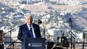 السفير الأمريكي لدى إسرائيل ديفيد فريدمان يتحدث حلال تجمع لمسيحيين مناصرين لإسرائيل في القدس، 6 اكتوبر 2019 (David Azagury, US Embassy Jerusalem)